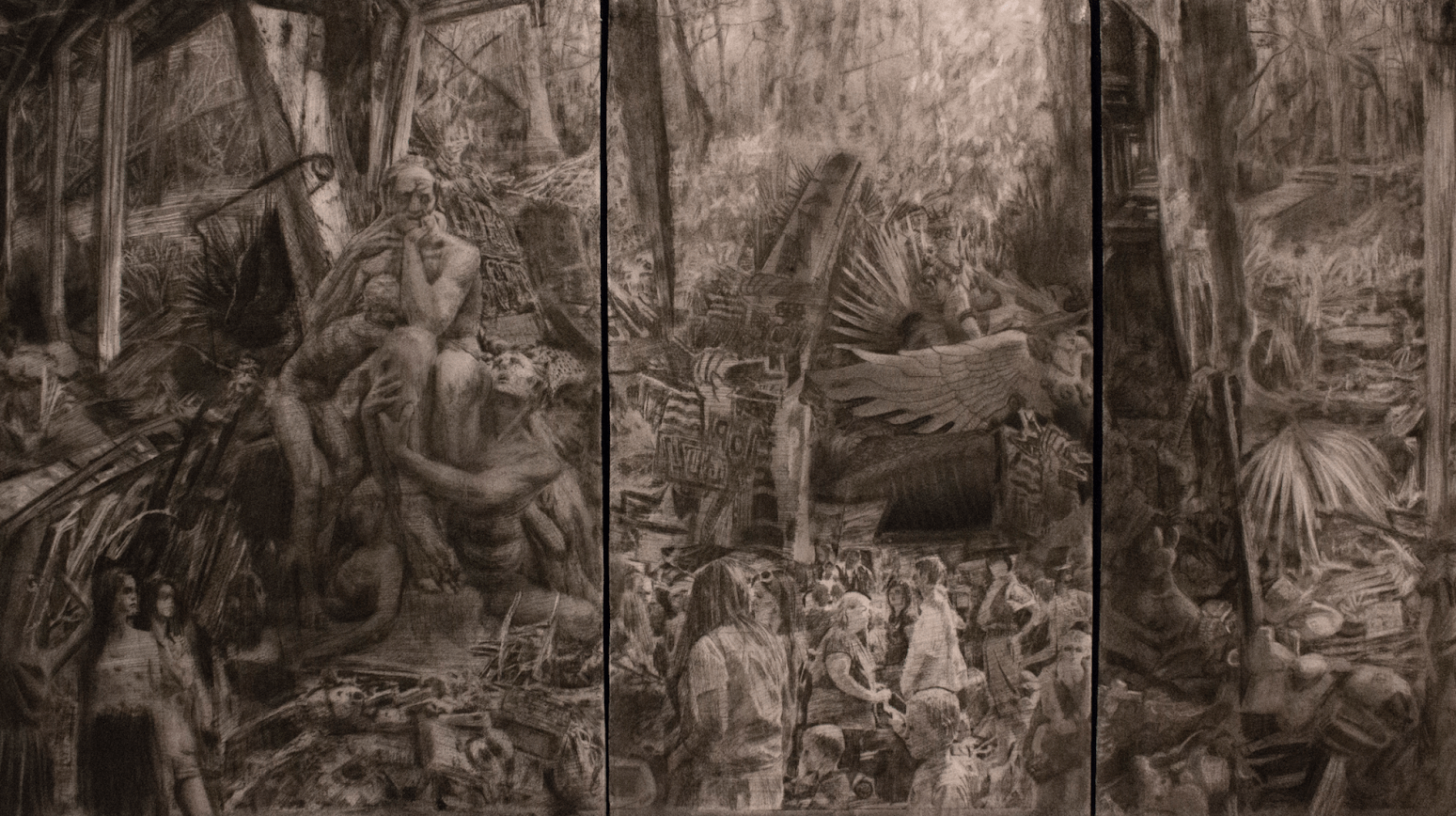 Isaac McCaslin, Garden of delightful Objects Triptych, Charcoal on Paper 31 x 17 in, on canvas, 2014